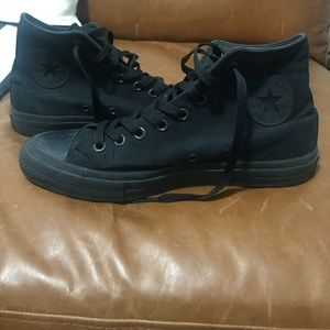 All black converse high top size 8.5